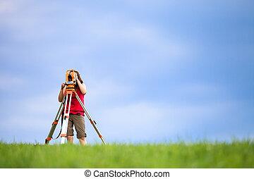 土地, 仕事, 若い, 測量技師