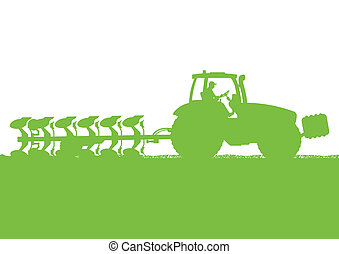土地, 国, イラスト, フィールド, ベクトル, 穀粒, トラクター, 背景, 耕される, 農業, 耕す, 風景