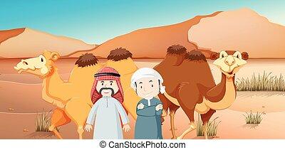土地, 男性, 2, アラビア人, ラクダ, 砂漠