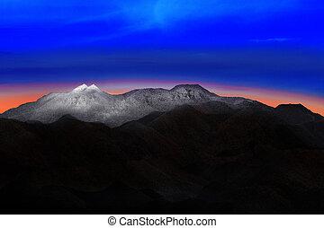 土地, scape, の, 雪, 山, 丘, ∥で∥, 美しい, 劇的, カラフルである, 空, 前に, 朝, 夜明けライト, 使用, ∥ために∥, 自然, 背景, そして, 背景
