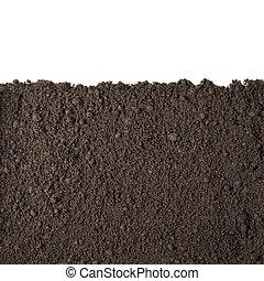 土壌, セクション, 白, 隔離された, 手ざわり