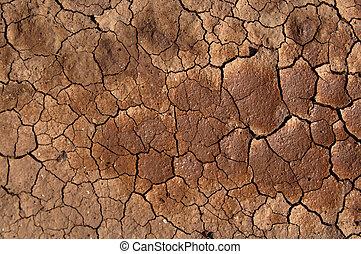 土壌, 下に, 乾かされた, 太陽