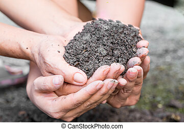 土壌, 中に, 手