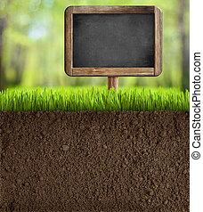 土壌, 黒板, 庭, 印
