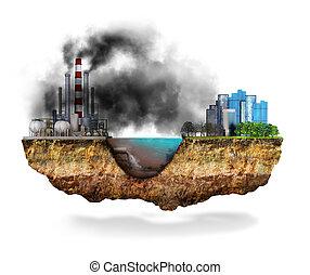 土壌, factory., 概念, disaster., セクション, 世界的である, 3d, イラスト, 交差点, 地質, 地球