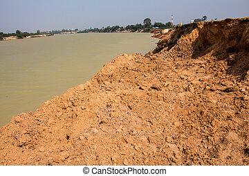 土壌, river., 浸食