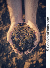 土壤, 可耕, 堆, 藏品, 農夫
