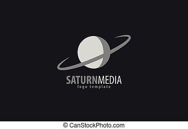 土星, 黑色半面畫像, 矢量, 插圖, 被隔离, 在懷特上, 背景