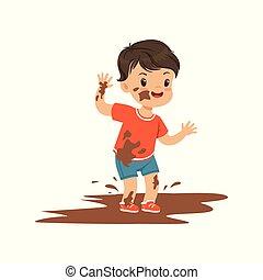 土, かわいい, わずかしか, ギャング, bully, 男の子, イラスト, 朗らかである, ひどく, ベクトル, 行動, 子供, 子供, 跳躍