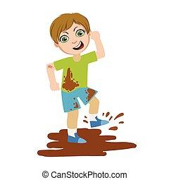 土, 男の子, 子供, 行動, 失礼, ある, シリーズ, bullies, 攻撃, ベクトル, ひどく, 跳躍,...