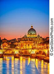 圣彼得` s, 大教堂, 夜间, rome