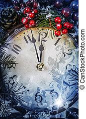 圣誕夜, 以及, 新年, 在, 午夜