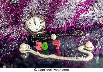 圣誕夜, 以及, 新年, 在, midnight.
