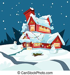圣誕夜, 假期房子, 冬天, 雪, 雪人, 禮物, 賀卡