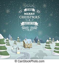 圣誕夜, 背景, 矢量, illustration.