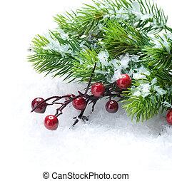 圣誕樹, 以及, 裝飾, 在上方, 雪, 背景