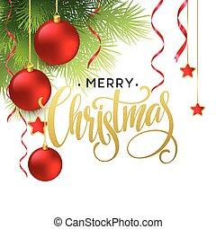 圣誕樹, 分支, 邊框, 由于, 書法, lettering., 矢量, 插圖