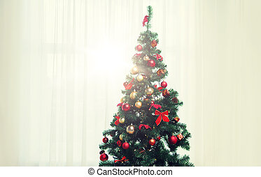 圣誕樹, 在, 客廳, 在上方, 窗口, 帘子