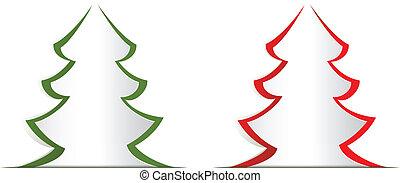 圣誕樹, 紙, cutout