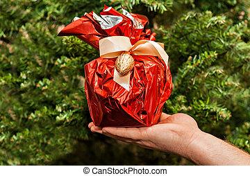 圣誕樹, 背景, 禮物, 手