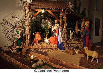 圣誕節出生場景, 由于, 三個聰明的人, 提出, 禮物, 到, 嬰兒耶穌, mary.&約瑟夫