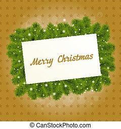 圣誕節卡片, 由于, 新年, 樹