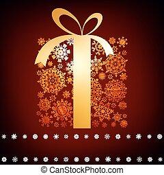 圣誕節卡片, 由于, 禮物, box., eps, 8