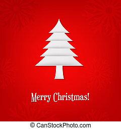 圣誕節卡片, 由于, 紙, 樅樹