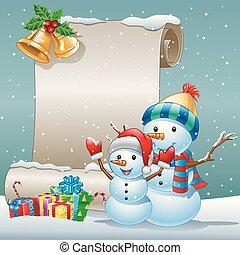 圣誕節卡片, 由于, a, 雪人, 以及, 禮物盒, 上, 冬天, 背景