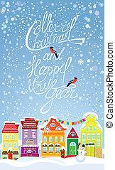 圣誕節和新年假期, 卡片, 由于, 小, 仙女, 鎮, 上, 淡藍, 天空, 背景, 由于, 裝飾, 鮮艷, 房子, 在, 冬天, time.