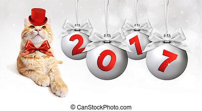 圣誕節球, 正文, 姜, 弓, 貓, 帶子, 2017, 銀色, 緞子, 銀, 紅色