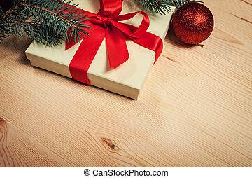 圣誕節禮物, 包裹, 在, 紅的緞帶, 由于, 樅樹末梢, 上, 木制, 背景