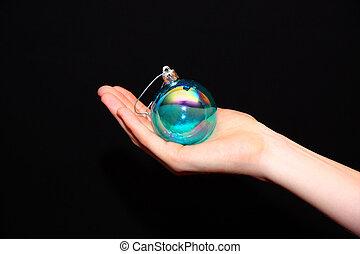 圣誕節裝飾, 在, 手