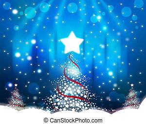 圣诞树, 在上, the, 蓝的背景