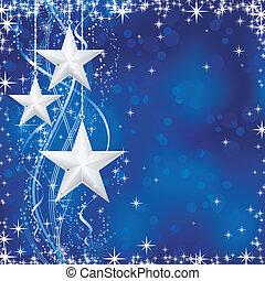 圣诞节, /, 冬季, 背景, 带, 星, 雪薄片, 同时,, 起浪, 线, 在上, 蓝的背景, 带, 光, 点, 为,...