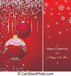 圣诞贺卡, 在中, 红