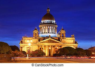 圣, isaac's, 大教堂, saint-petersburg, 在中, 晚上, russia.