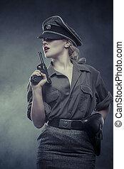 圧制的な権力行使, ドイツ語, 役人, 女, 代表, reenactment