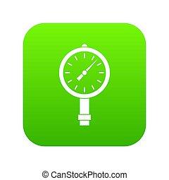 圧力計, 圧力ゲージ, デジタル, 緑, ∥あるいは∥, アイコン