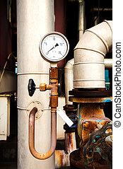 圧力計, 蛇口, 部屋, パイプ, システム, 加熱, ボイラー, 弁