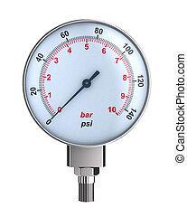圧力計, 3d, 隔離された, バックグラウンド。, イラスト, 白