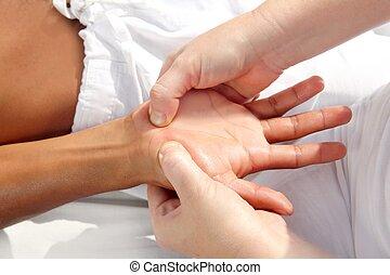圧力, デジタル, tuina, reflexology, 療法, 手, マッサージ