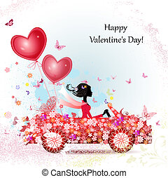 在一汽车中的女孩, 带, valentines