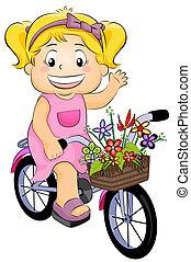 在一輛自行車上的女孩