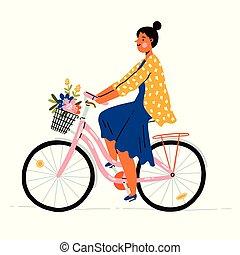 在一辆自行车上的女孩, 带, 花