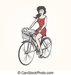 在一辆自行车上的女孩