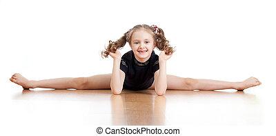 在上方, 年輕, 體操, 背景, 女孩, 白色