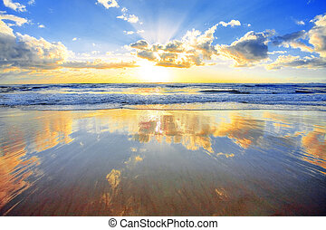 在上方, 日出, 海洋