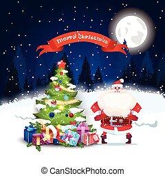 在上方, 樹, 問候, 設計, 風景, 聖誕老人, 夜晚, 假期, 圣誕節卡片, 森林