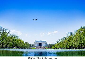 在上方, 池塘, 紀念館, dc, 盆, 林肯, 華盛頓
